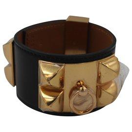 """Hermès-Bracelet Hermès """"Collier de chien"""" Noir-Or-Noir"""