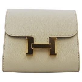 Hermès-Portefeuille Hermès Constance Compact-Crème