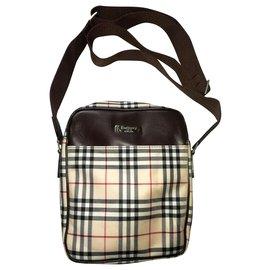 Burberry-Blue Label Japan Brown Nova Check Canvas Cross-body Shoulder Bag-Brown