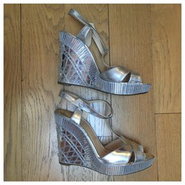 Christian Louboutin-Silver leather wedge sandals-Silvery