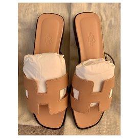 Hermès-Sandales Oran en Granit Rose-Beige