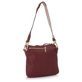 Chloé-Chloe Red Vanessa Leather Shoulder Bag-Red,Dark red