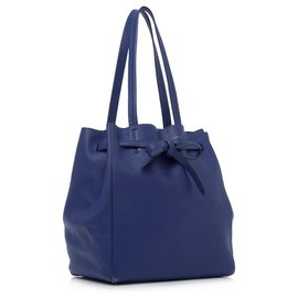 Céline-Celine Blue Phantom Cabas Leather Tote Bag-Blue