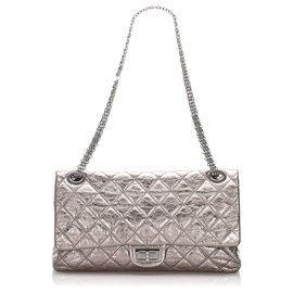 Chanel-Chanel Silver Reissue Quilted Leather lined Flap Bag-Silvery