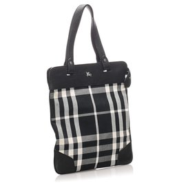 Burberry-Burberry Black Plaid Canvas Tote Bag-Black,White