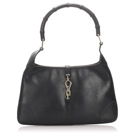Gucci-Gucci Black Jackoo Leather Jackie-Noir