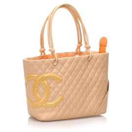 Chanel-Chanel Brown Cambon Ligne Tote-Brown,Beige