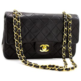 "Chanel-Chanel 2.55 lined flap 9"" Classic Chain Shoulder Bag Black Lamb-Black"