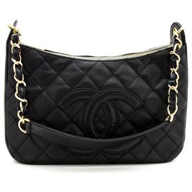Chanel-CHANEL Caviar Chain One Shoulder Bag Black Quilted Leather Zipper-Black