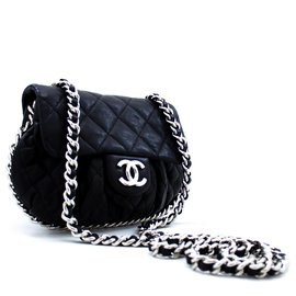 Chanel-CHANEL Chain Around Shoulder Bag Crossbody Black calf leather Leather-Black