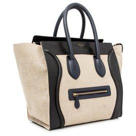 Céline-Sac cabas en cuir noir Celine Luggage-Marron,Noir