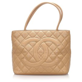 Chanel-Chanel Brown Caviar Medallion Tote Bag-Brown,Beige