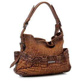 Burberry-Burberry Brown Gathered Leather Hobo Bag-Brown