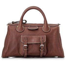 Chloé-Chloe Brown Leather Edith Handbag-Brown