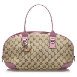 Gucci-Gucci Brown GG Canvas Heart Bit Sac à main-Marron,Rose,Beige