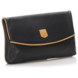Céline-Celine Black Leather Clutch Bag-Brown,Black