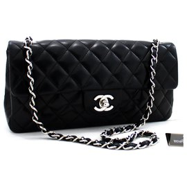Chanel-CHANEL Silver Hw Single Flap Chain Shoulder Bag Black Quilted Lam-Black