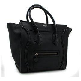 Céline-CELINE Luggage Mini Shopper Bag Handbag Black Leather-Black