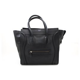 Céline-CELINE Luggage Mini Shopper Bag Handbag Black Leather-Black