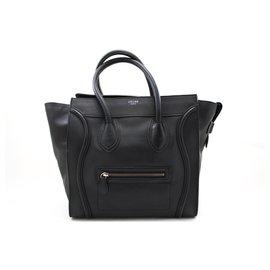 Céline-CELINE Luggage Mini Shopper Bag Sac à main Noir Cuir-Noir