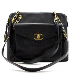 Chanel-CHANEL Caviar Large Chain Shoulder Bag Black Leather Gold Hw-Black