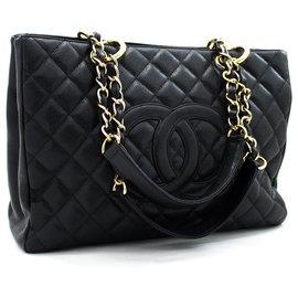 "Chanel-CHANEL Caviar GST 13""Grand Shopping Tote Chain Sac à bandoulière noir-Noir"