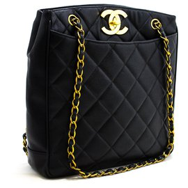 Chanel-CHANEL Grand sac à bandoulière en chaîne CC Caviar or noir Porte-monnaie en cuir noir-Noir