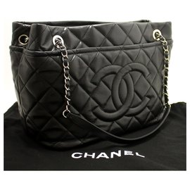 Chanel-CHANEL Caviar Chain Shoulder Bag Shopping Tote Black Quilted SV-Black
