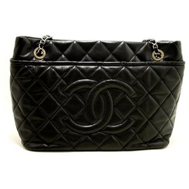 Chanel-CHANEL Caviar Chain Sac à bandoulière Shopping Tote Black Quilted SV-Noir