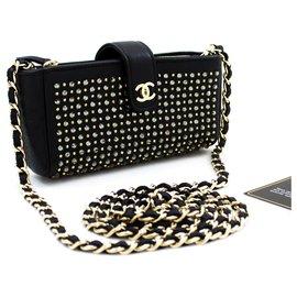 Chanel-CHANEL Studs Strass Mini Chain Bag Bandoulière Black Crossbody-Noir