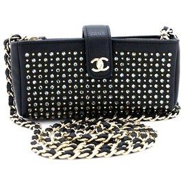 Chanel-CHANEL Studs Rhinestone Mini Chain Shoulder Bag Black Crossbody-Black