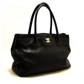 Chanel-CHANEL Executive Tote Caviar Shoulder Bag Handbag Black Gold-Black