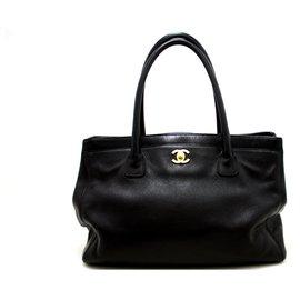 Chanel-CHANEL Executive Tote Caviar Shoulder Bag Sac à main Noir Or-Noir