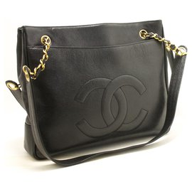 Chanel-CHANEL Caviar Large Chain Shoulder Bag Black CC Leather Gold-Black