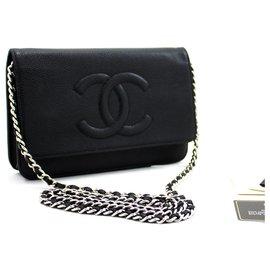 Chanel-CHANEL Caviar Wallet On Chain WOC Noir Sac à bandoulière Crossbody-Noir