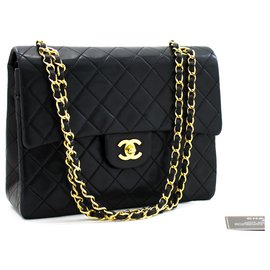 Chanel-Chanel 2.55 lined Flap Square Classic Chain Shoulder Bag Black-Black