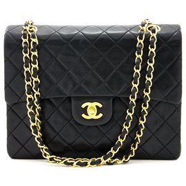 Chanel-Chanel 2.55 Sac à bandoulière Flap Square Classic Chain noir-Noir