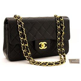 """Chanel-Chanel 2.55 à double rabat 9""""Sac à bandoulière chaîne sac à main en cuir d'agneau noir-Noir"""