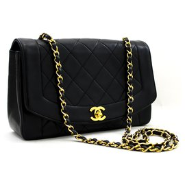 Chanel-CHANEL Diana Flap Chain Shoulder Bag Black Quilted Lambskin Purse-Black