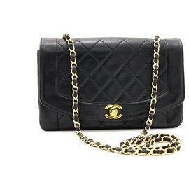 Chanel-CHANEL Diana Flap Chain Sac à bandoulière Sac à main en cuir d'agneau matelassé noir-Noir