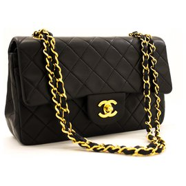 "Chanel-Chanel 2.55 lined flap 9"" Chain Shoulder Bag Black Lambskin Purse-Black"