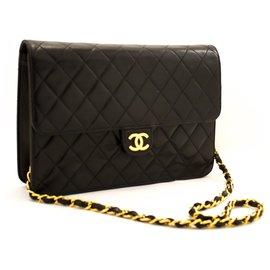 Chanel-CHANEL Chaîne Sac Bandoulière Pochette Noir Matelassé Rabat Agneau-Noir