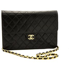 Chanel-CHANEL Chain Shoulder Bag Clutch Black Quilted Flap Lambskin-Black