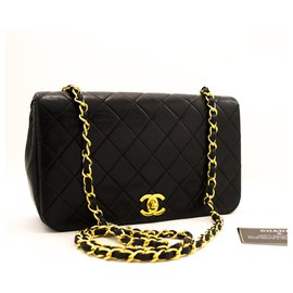 Chanel-CHANEL Chain Shoulder Bag Black Quilted Flap Lambskin Leather-Black
