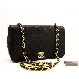 Chanel-CHANEL Sac à bandoulière chaîne en cuir d'agneau à rabat matelassé noir-Noir