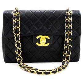 "Chanel-Chanel Jumbo 13"" Maxi 2.55 Flap Chain Shoulder Bag Black Lambskin-Black"