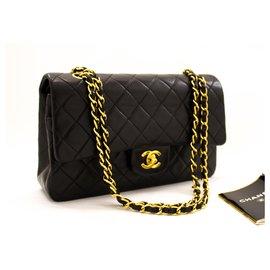 """Chanel-Chanel 2.55 à double rabat 10""""Sac à bandoulière en chaîne Agneau noir-Noir"""