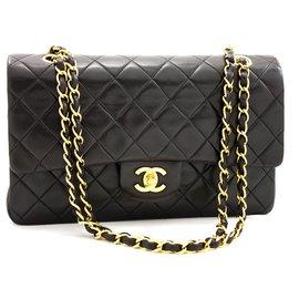 "Chanel-Chanel 2.55 lined flap 10"" Chain Shoulder Bag Black Lambskin-Black"