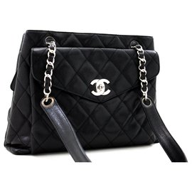 Chanel-CHANEL Caviar Quilted Chain Shoulder Bag Black Leather Silver-Black