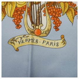 Hermès-Carré90 Au Pays de Cocagne In paradise Womens scarf Light blue-Light blue